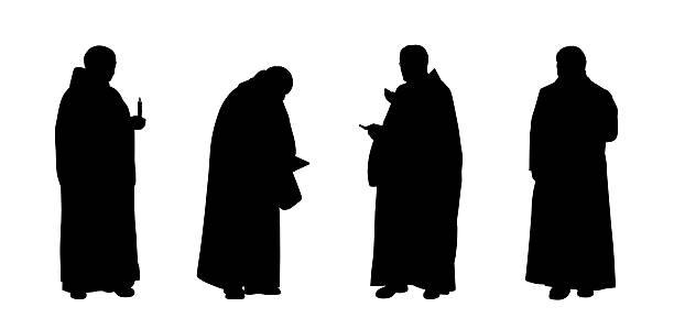 ilustraciones, imágenes clip art, dibujos animados e iconos de stock de christian monjes siluetas de - hermano