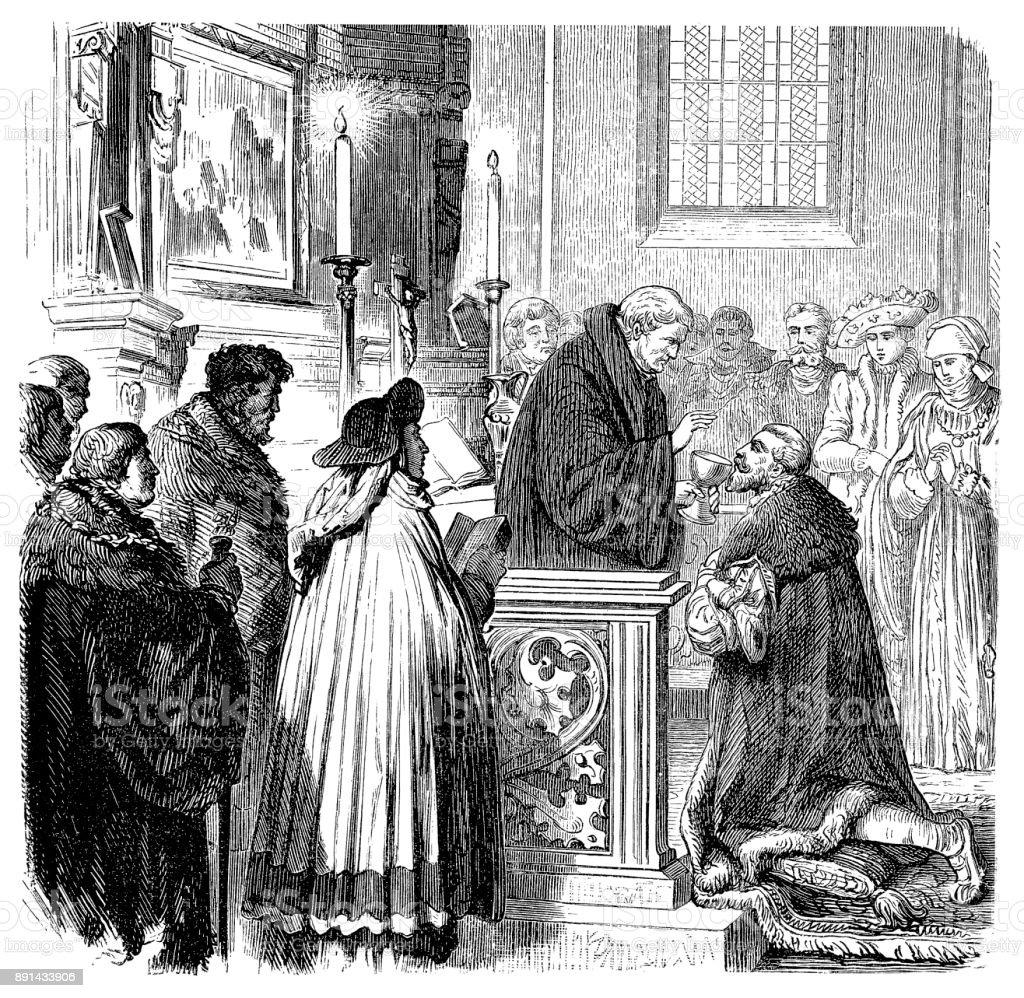 Christian Scene : Communion - 16th century ,The Lord's Supper vector art illustration
