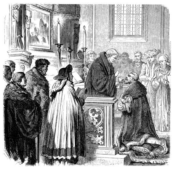 ilustraciones, imágenes clip art, dibujos animados e iconos de stock de christian scene: comunión - 16 siglo, cena del señor - comunión