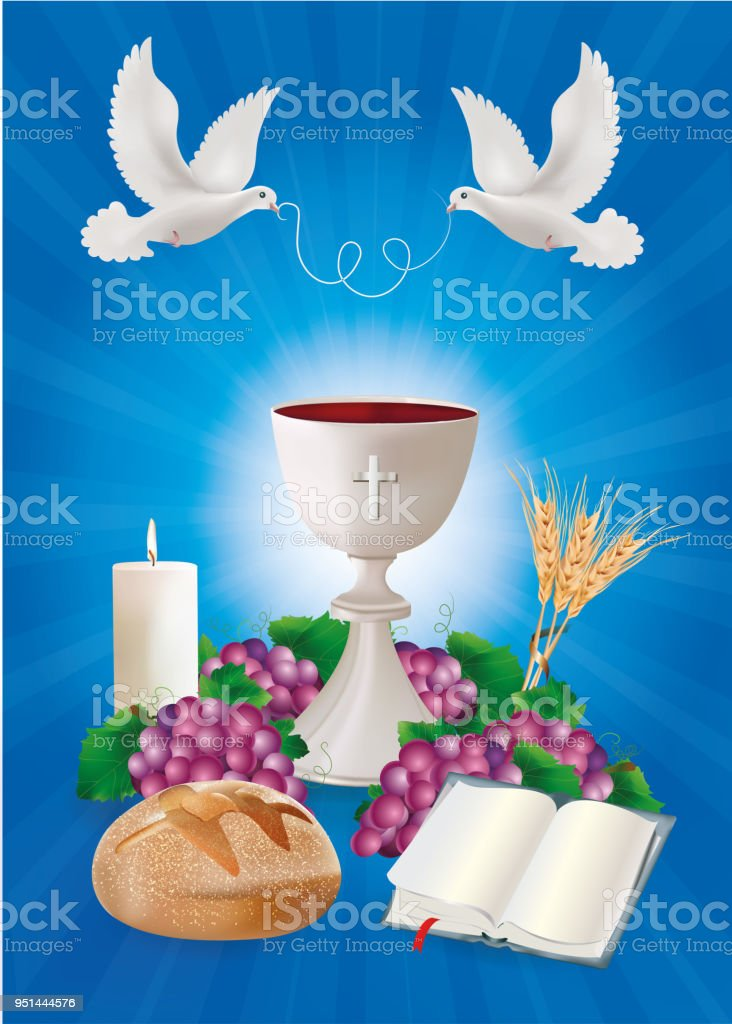 Christian Symbols Concept With White Chalice Bread Bible Grapes