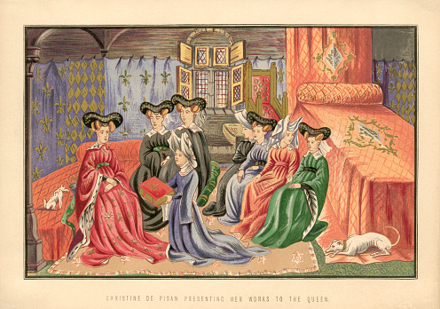 Christine de Pisan presenting her works to the Queen