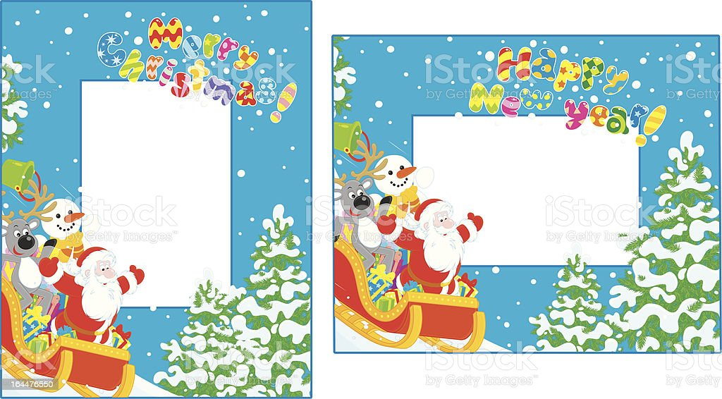 Christmas and New Year borders royalty-free stock vector art
