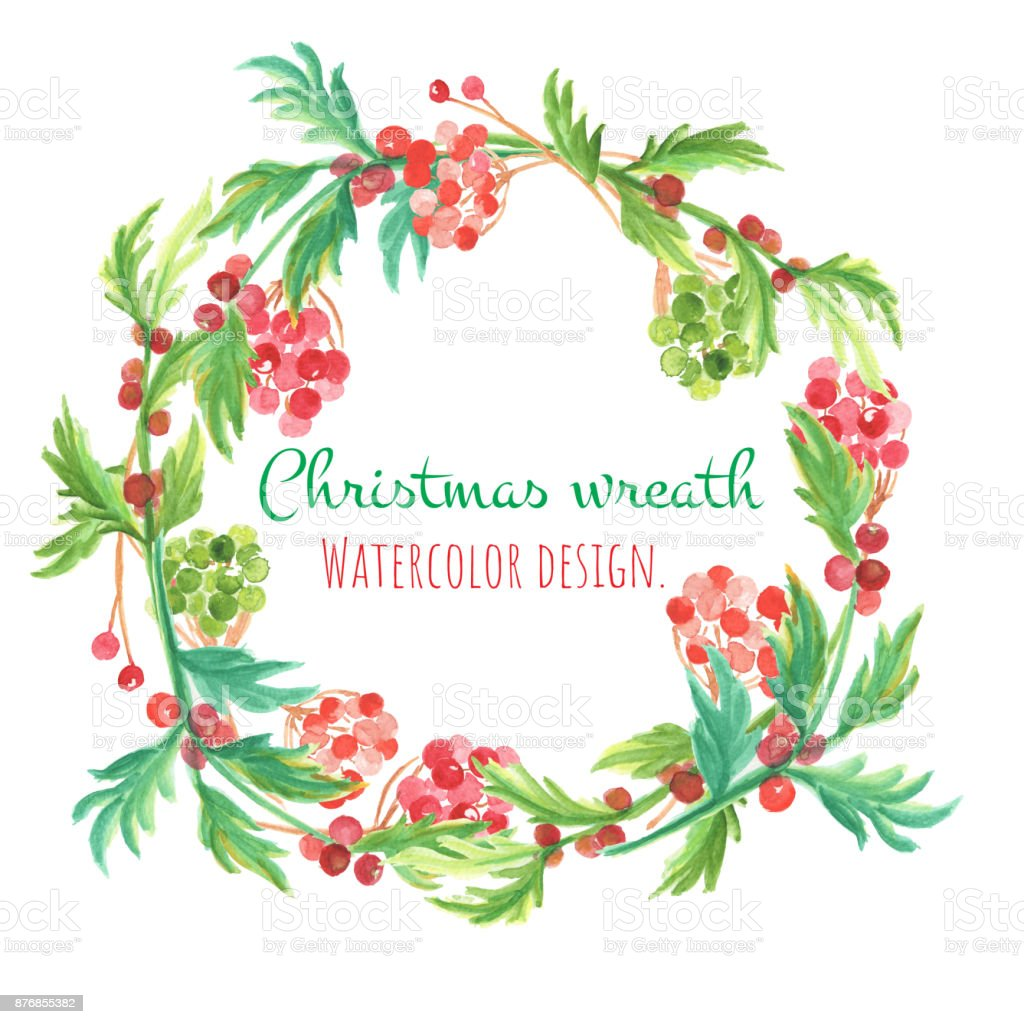 Christmas And New Year Card Watercolor Clip Art Is Christmas Wreth ...