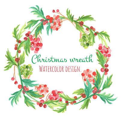 Christmas and new year card. Watercolor clip art is christmas wreth with ball tree, holly and leaf. The image is illustration for object, frame and card.