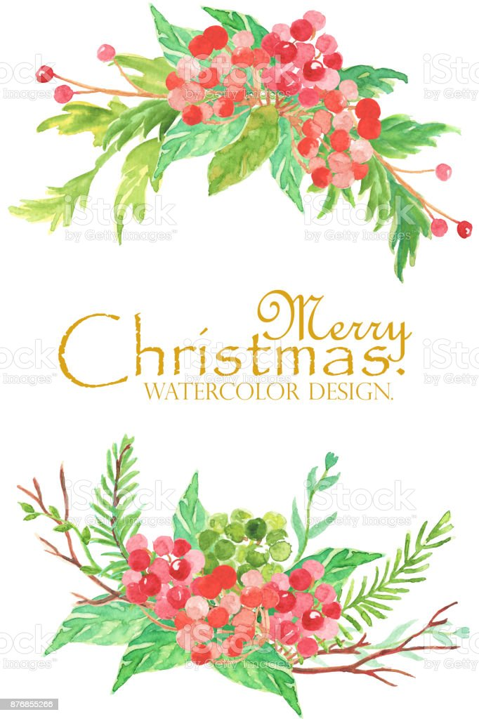 christmas and new year card watercolor clip art is two bouguet with blue flower