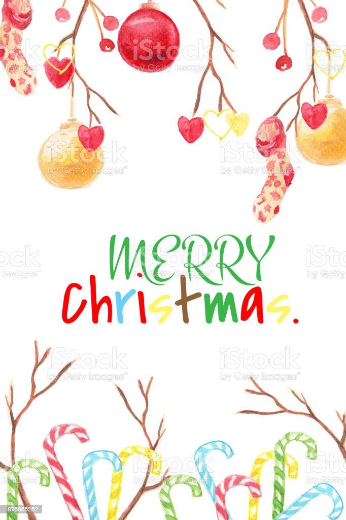 Noel Ve Yeni Yıl Kartı Sulu Boya Küçük Resim Sopa Noel Top Kalp