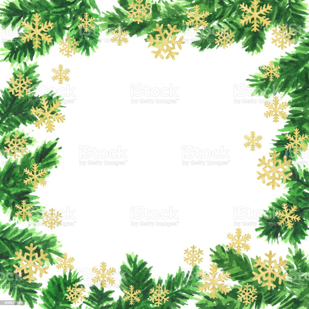 christmas and new year frame template of watercolor fir tree branches and gold snowflakes royalty