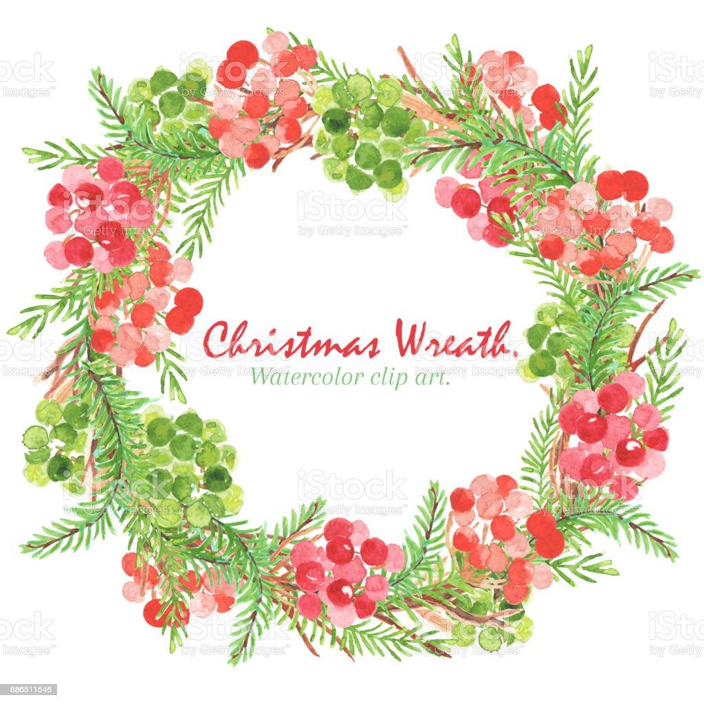 Noel Ve Yeni Yil Wreth Sulu Boya Kucuk Resim Noel Wreth Holly Sopa