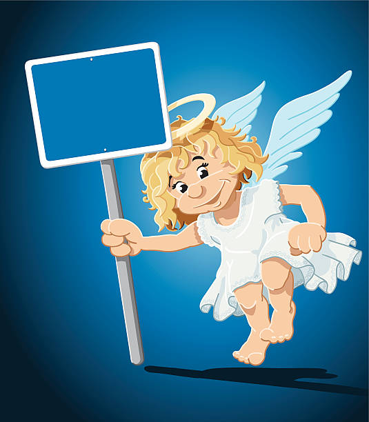 "Christmas Angel Blank Blue Sign ""Vector Illustration of a Christmas Angel, who is holding a blank sign, where you can place your own text. The background is on a separate layer, so you can use the illustration on your own background. The colors in the .eps-file are ready for print (CMYK). Included files: EPS (v8) and Hi-Res JPG."" cartoon people sign stock illustrations"