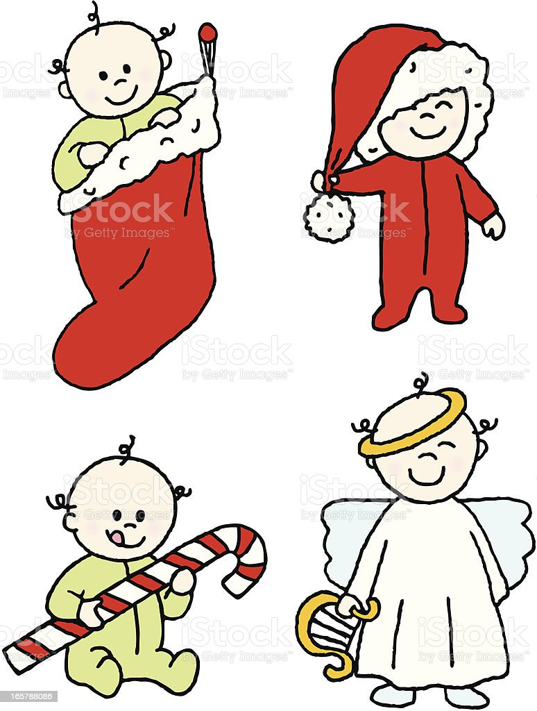 Christmas Babies royalty-free stock vector art