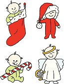 A collection of babies in Christmas settings