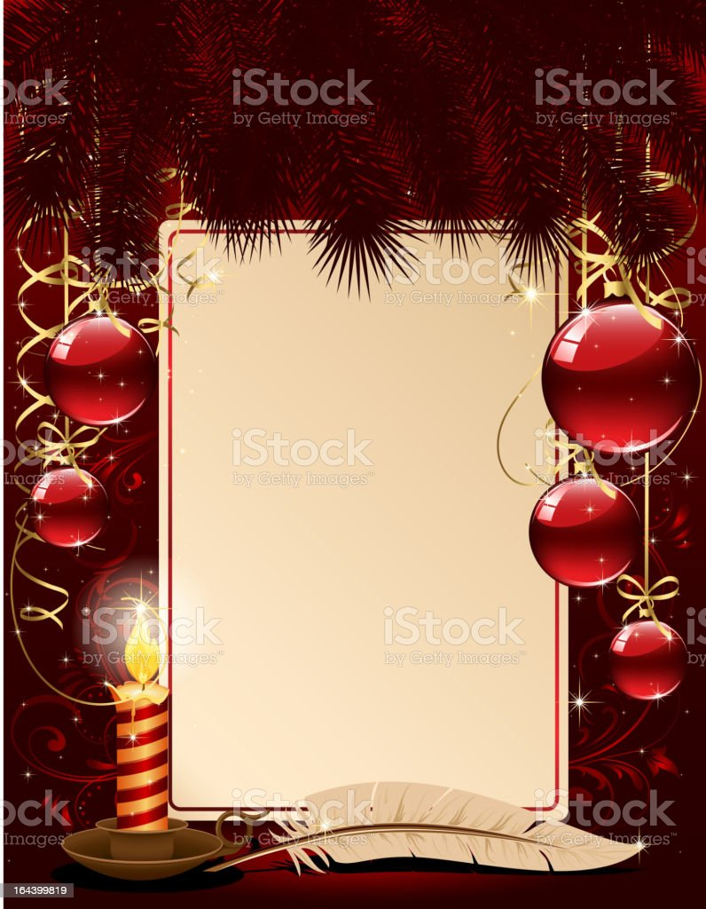 Christmas background with candle and balls royalty-free stock vector art