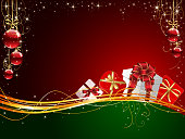"""""""Christmas background with Gift boxes and balls, illustration"""""""
