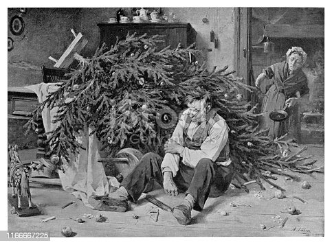 Christmas Bad Luck - Scanned 1894 Engraving