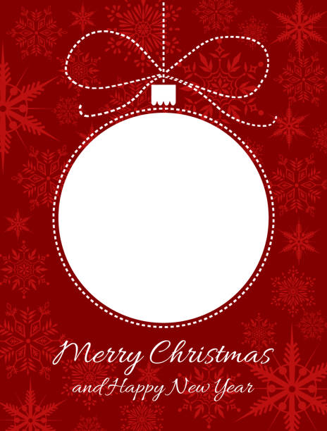 christmas ball greeting card vector art illustration merry christmas and happy new year corner border