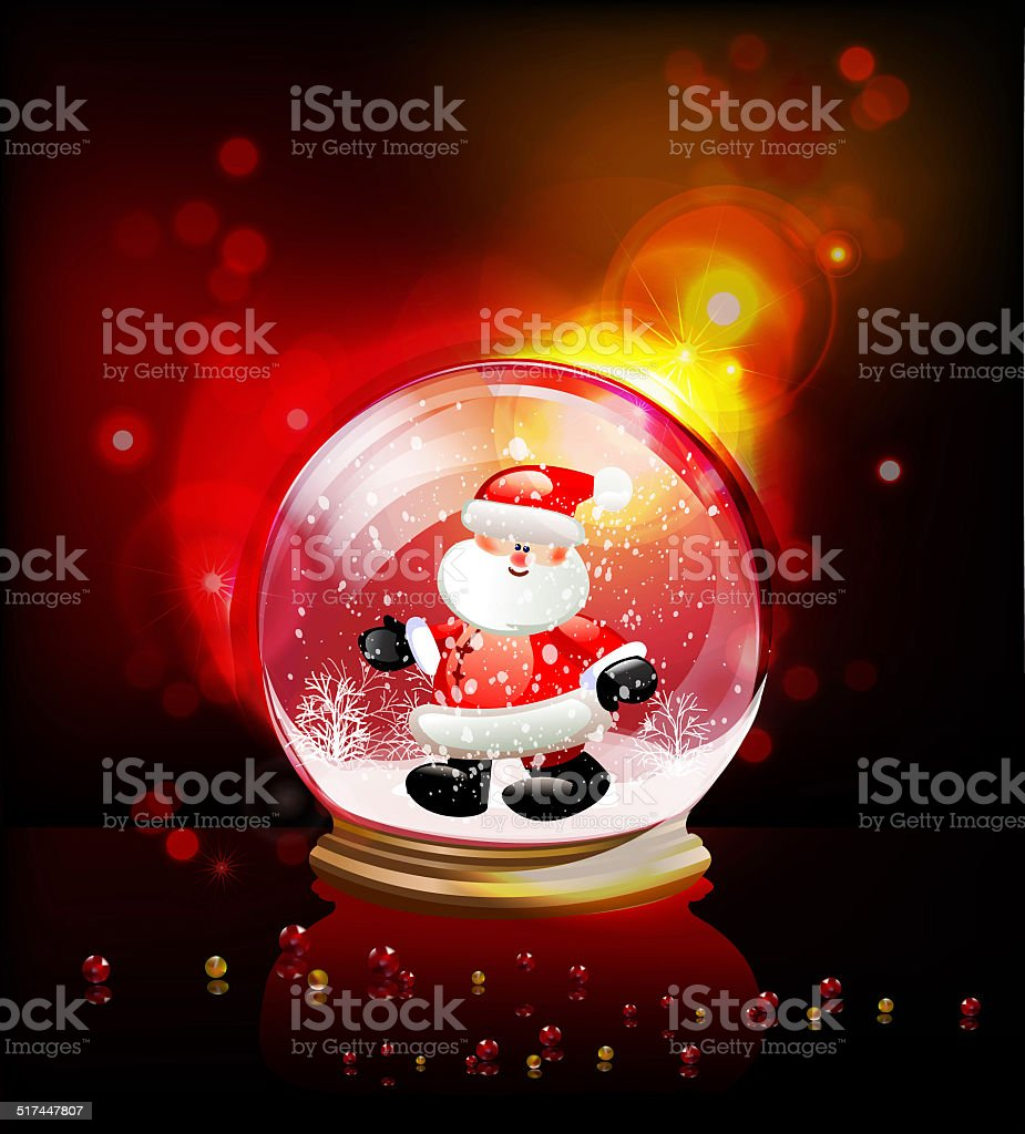 Christmas ball with Santa Claus vector art illustration