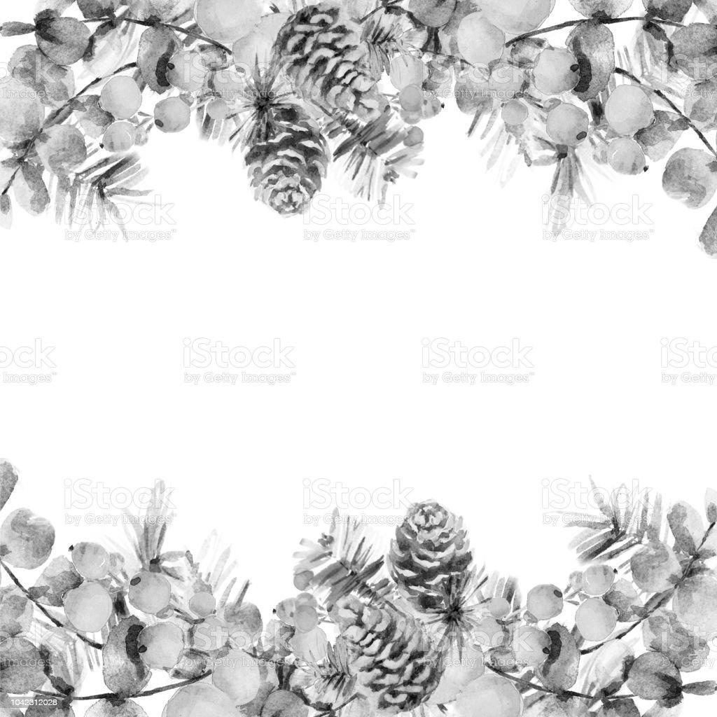 cadre de no l noir et blanc de baies de houx et de pins branches avec c nes et feuilles. Black Bedroom Furniture Sets. Home Design Ideas