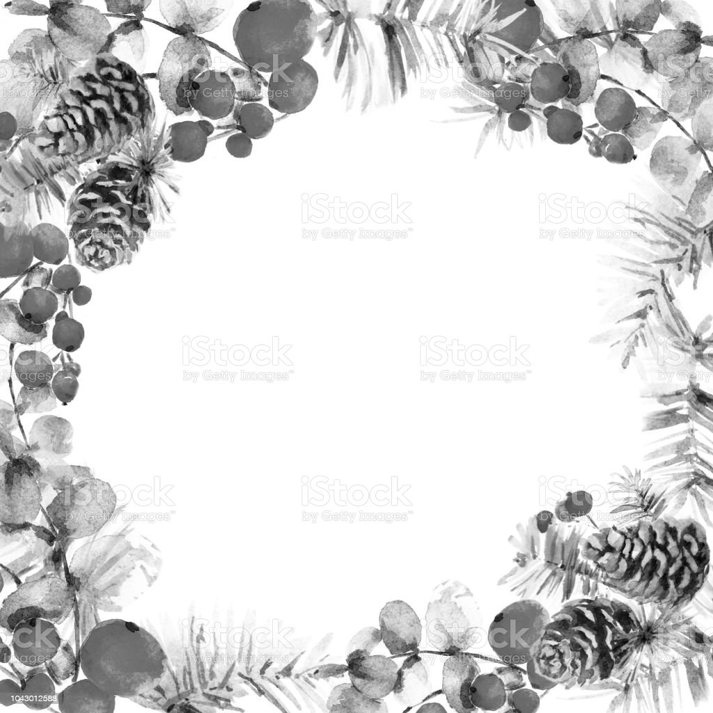 Christmas Black And White Frame From Holly Berries Pine