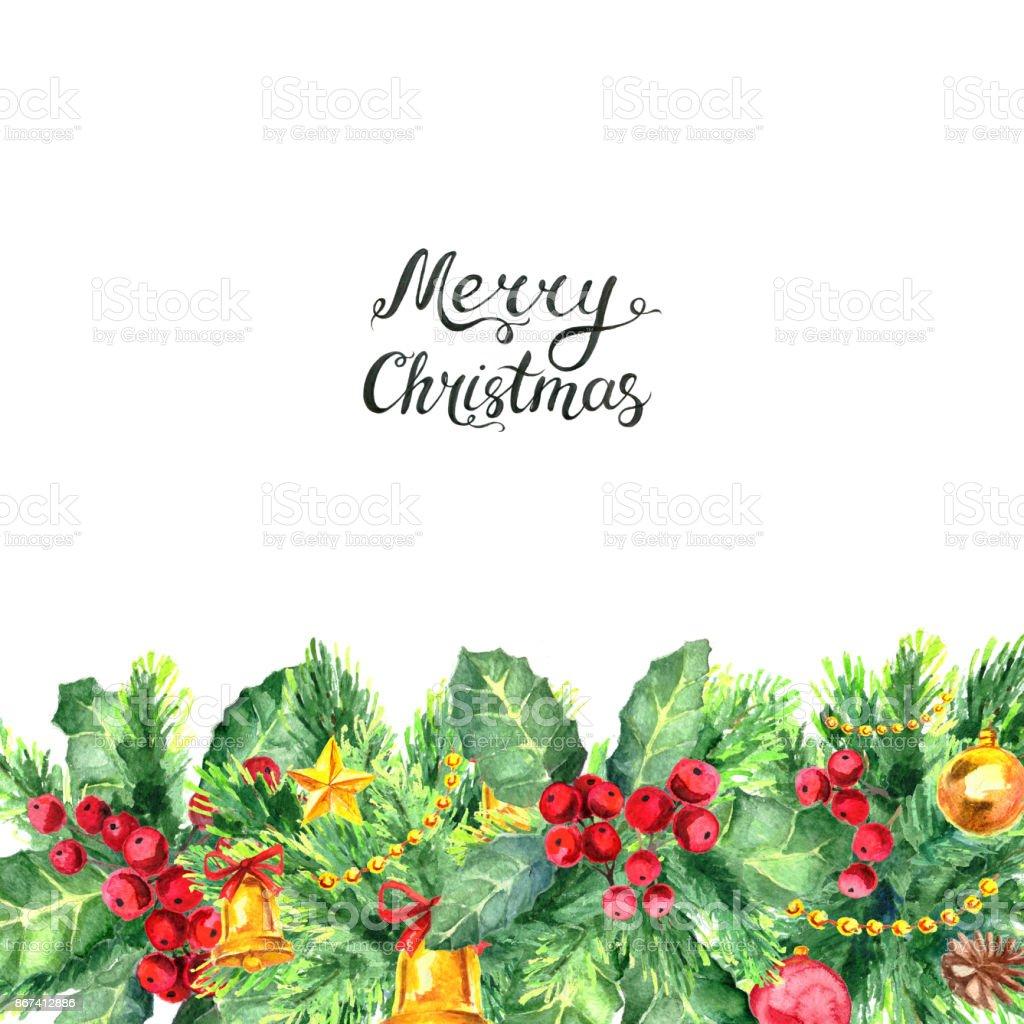 クリスマス枠線と白い背景に分離された Lettreing お祝いのベクター