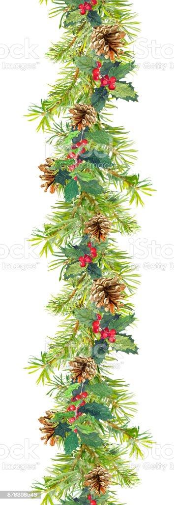Weihnachtengrenze niederlassungen tanne mit zapfen und - Aquarell weihnachten ...