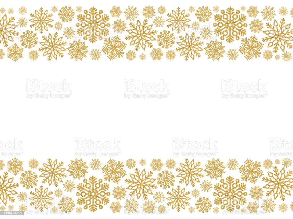 christmas border with gold snowflakes border of sequin confetti