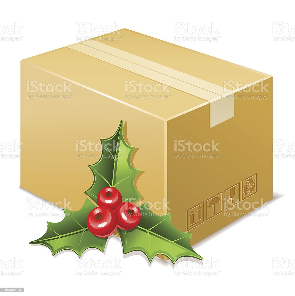 Christmas box icon. Mistletoe royalty-free stock vector art