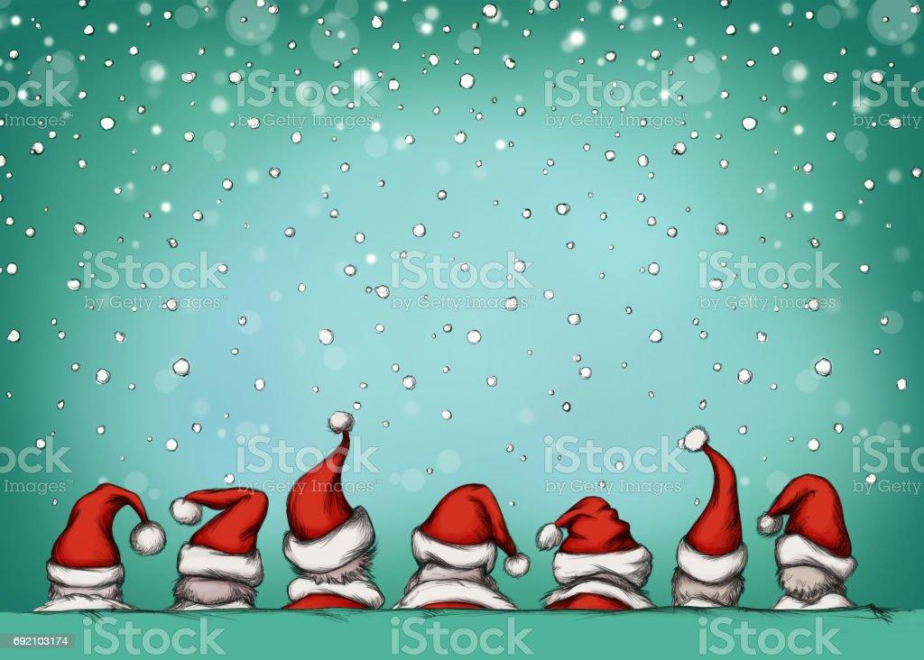 Weihnachten-Kappen im Schnee – Vektorgrafik