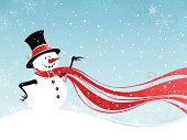 """""""Snowman winter scene with blank space for your text. Illustration produces in 4 colors: blue, black, white and red. All objects are grouped for easy editing. Large jpeg included."""""""