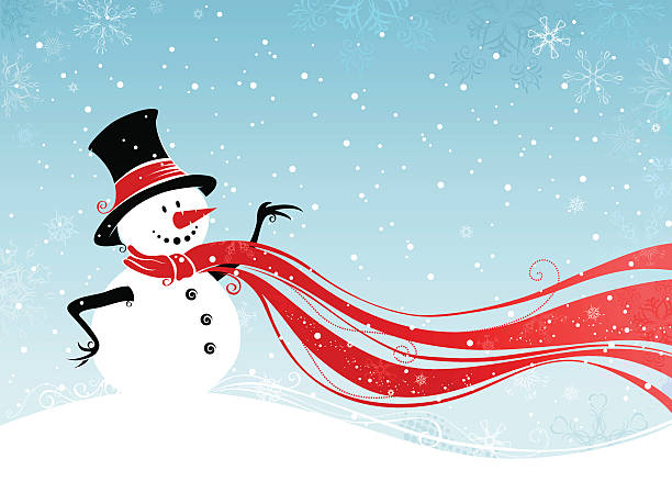 "Christmas card ""Snowman winter scene with blank space for your text. Illustration produces in 4 colors: blue, black, white and red. All objects are grouped for easy editing. Large jpeg included."" snowman stock illustrations"