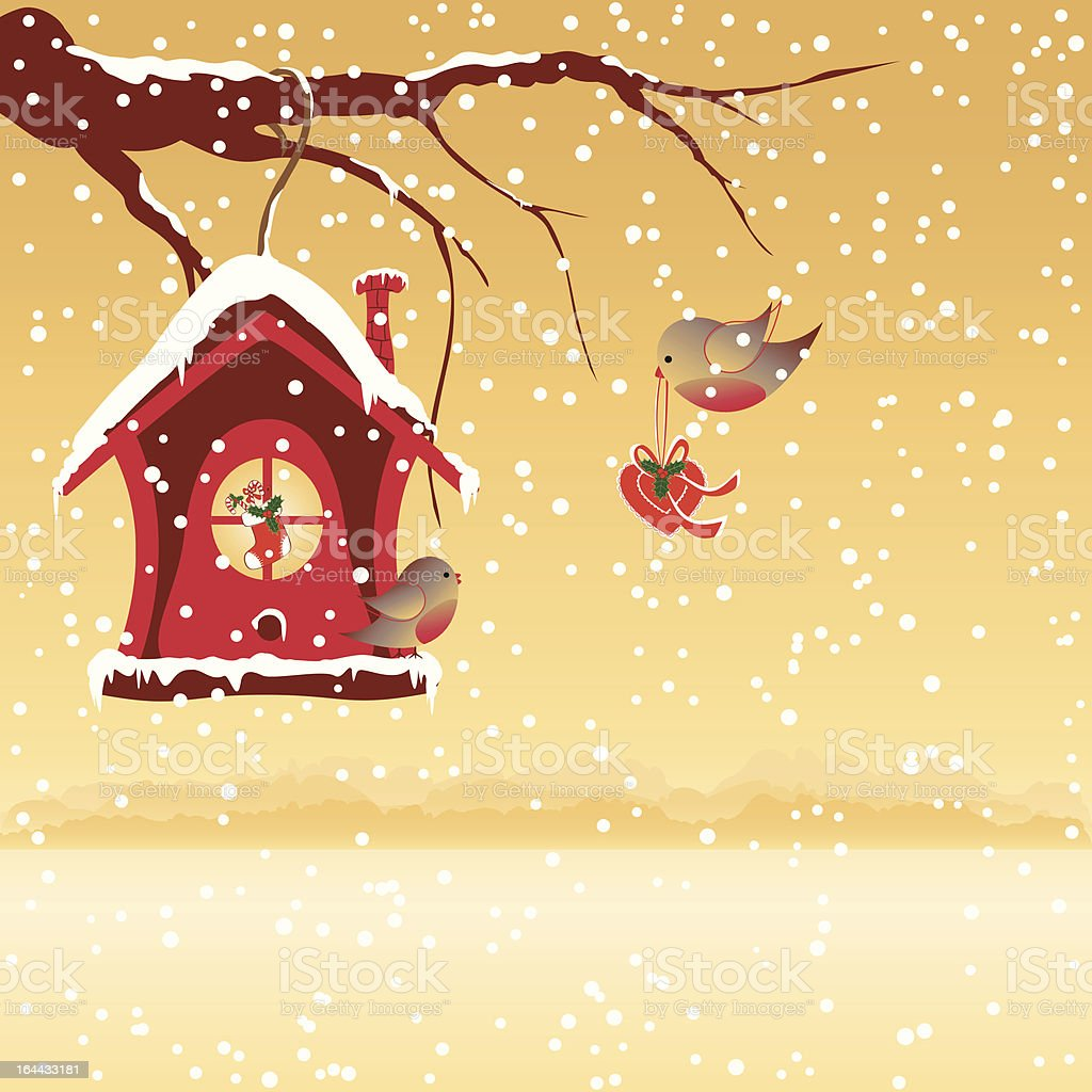 Christmas card robin bird send greeting royalty-free stock vector art