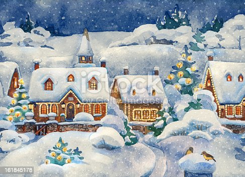 A Christmas Card That Shows A Winter Village Stock Vector ...