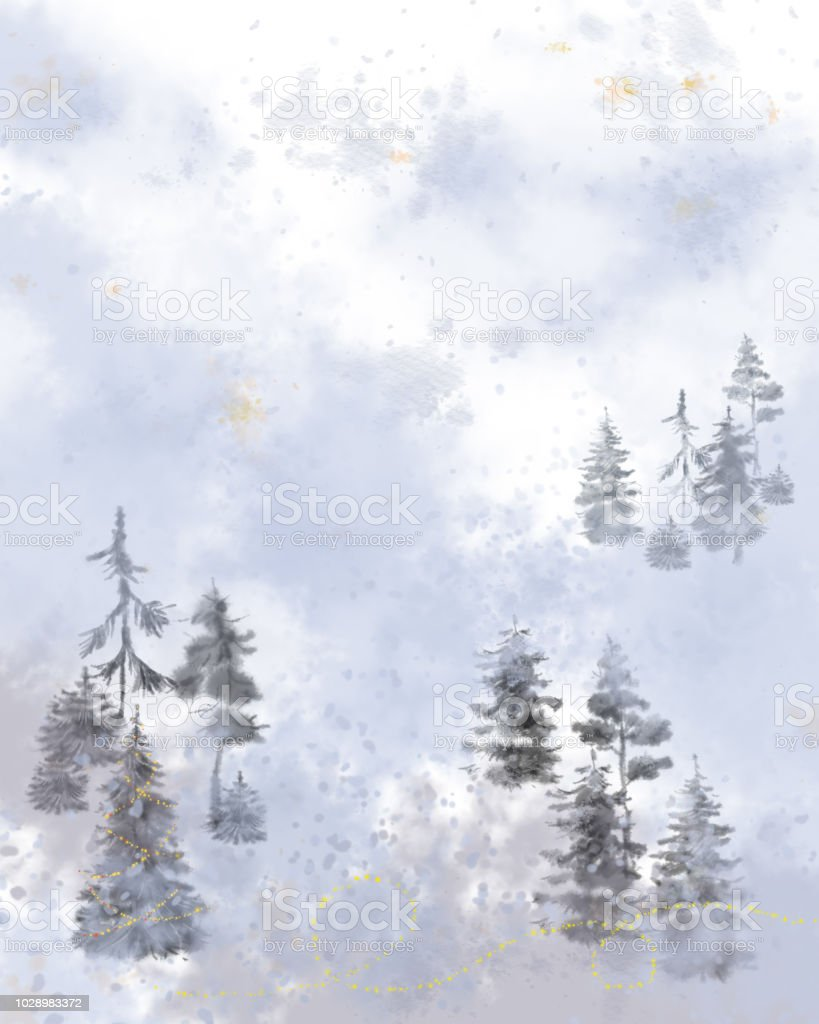 christmas card watercolor pine trees in a fog stock illustration download image now istock christmas card watercolor pine trees in a fog stock illustration download image now istock