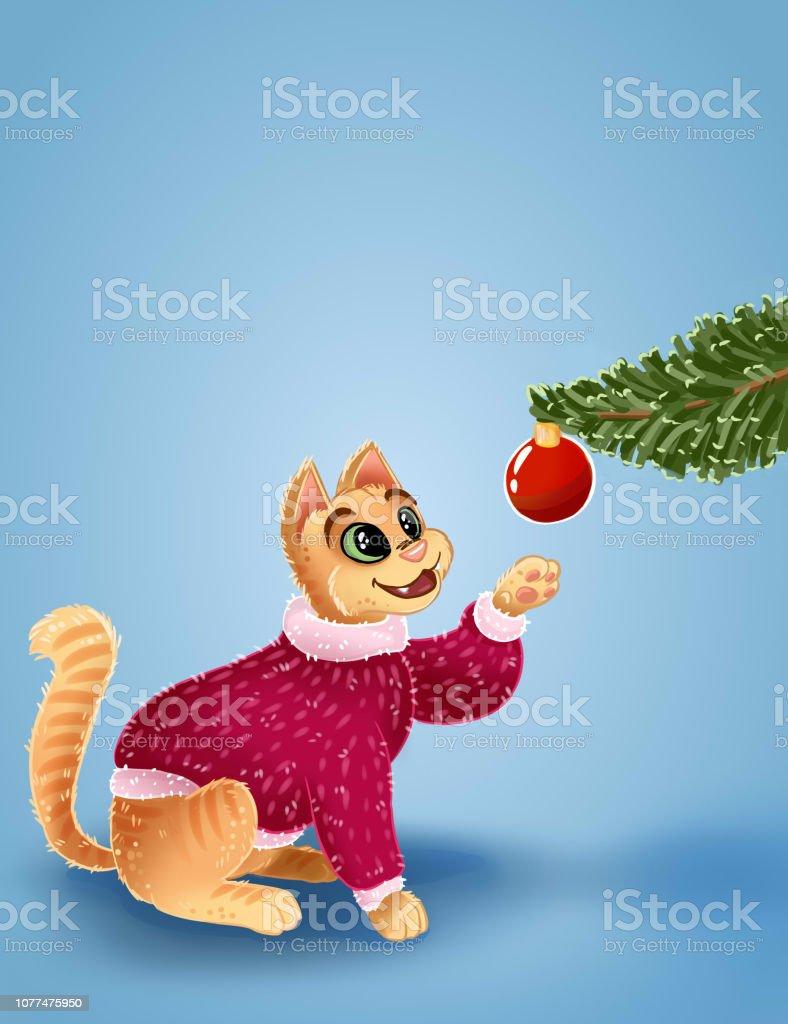 Bilder Nach Weihnachten.Weihnachtskarte Mit Katze Und Weihnachtsspielzeug Die Katze Ist Die
