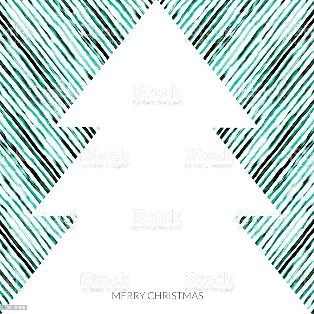 Kerstkaart Met Kerstboom In Wit Op Bekleed Hand Geschilderd Groene