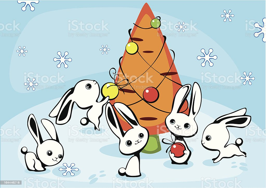 Christmas card with hares royalty-free christmas card with hares stock vector art & more images of animal