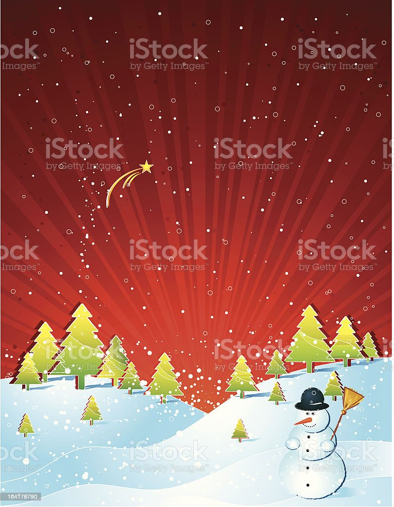 christmas card with snoman royalty-free stock vector art