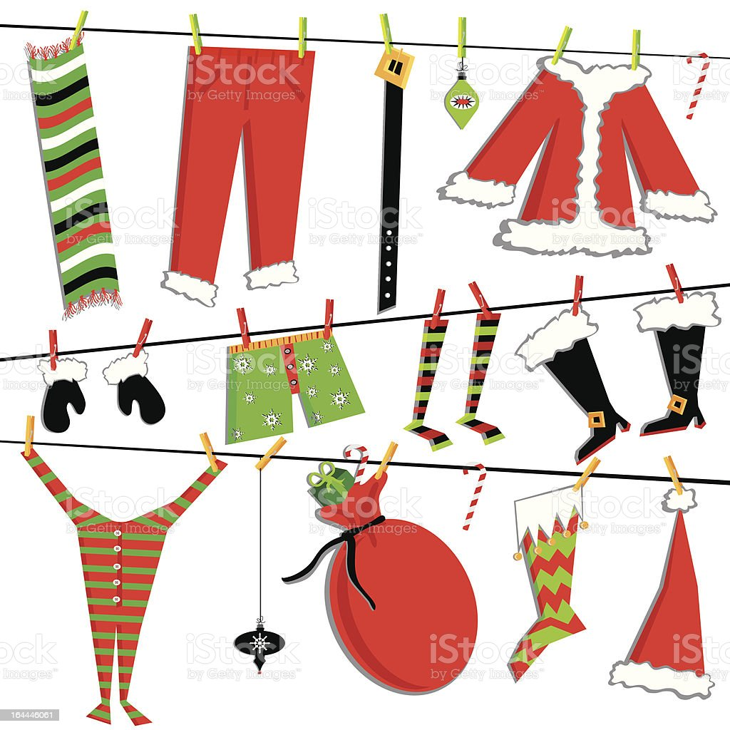Christmas Clothesline with Santa's Items royalty-free christmas clothesline with santas items stock vector art & more images of belt