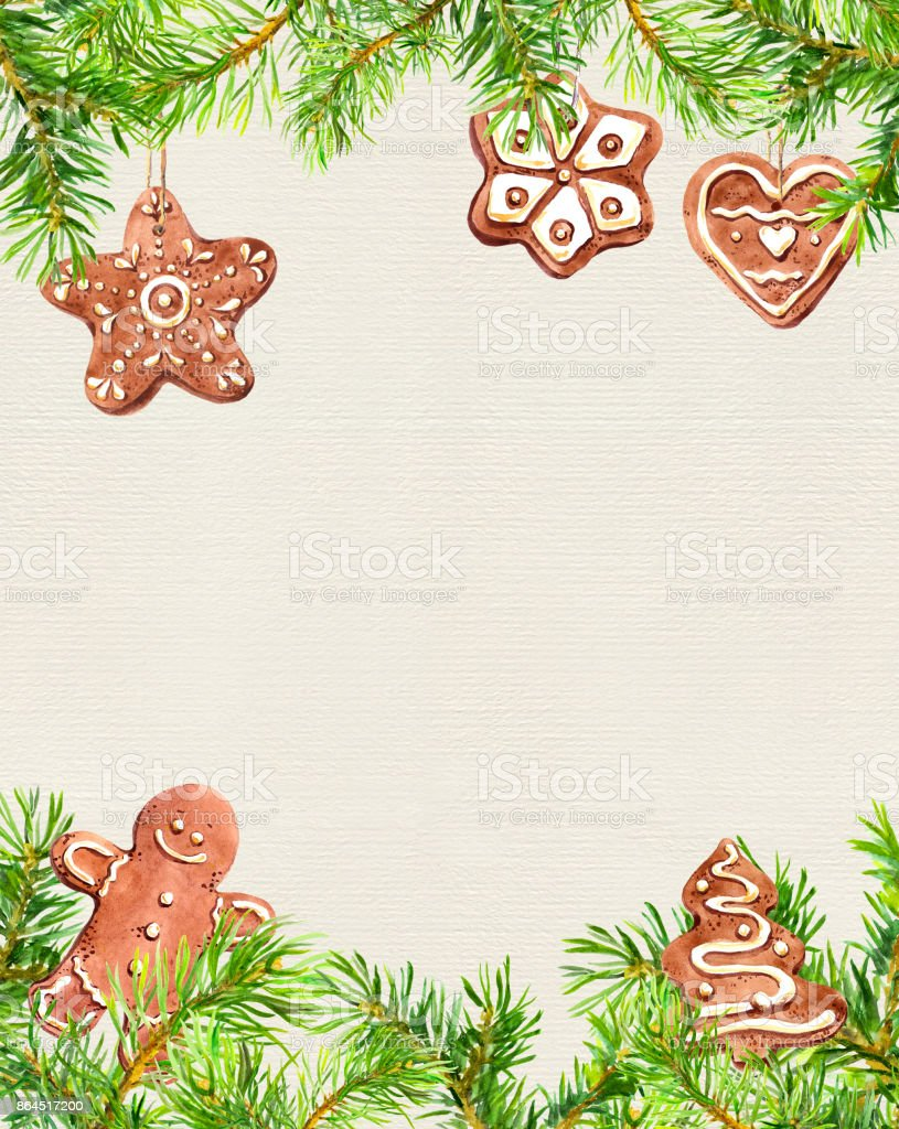 christmas cookies ginger man conifer tree branches frame. Black Bedroom Furniture Sets. Home Design Ideas