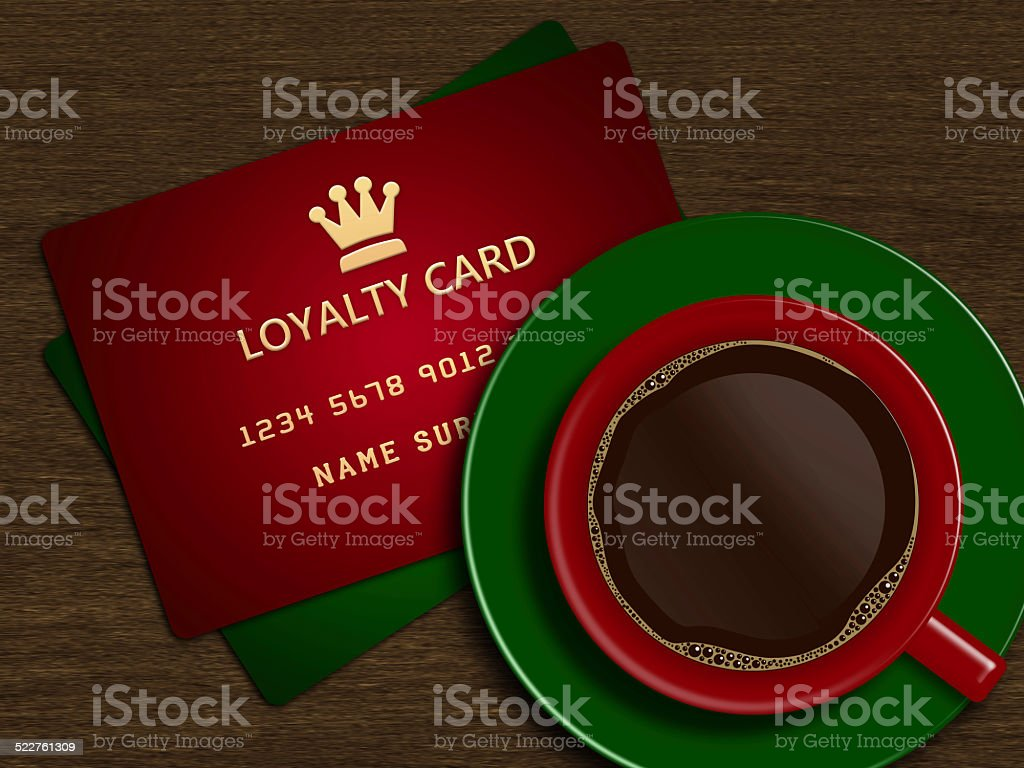 christmas cup of coffee with loyalty cards vector art illustration