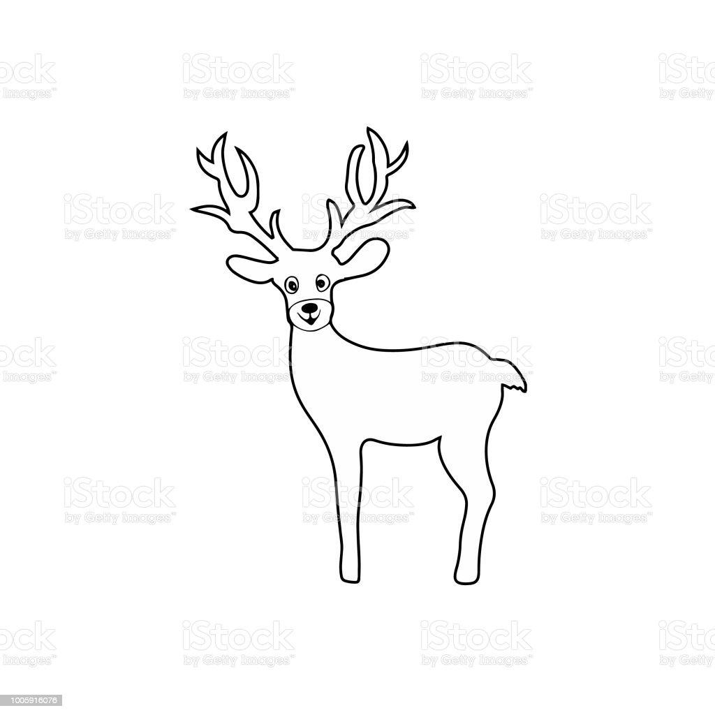 Kleurplaten Dieren Herten.Kerst Herten Teken Kinderen Kleurplaten Pagina Lijnwerk Geisoleerd