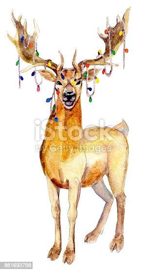 istock Christmas Deer with garland, watercolor illustration isolated on white background. 881693758
