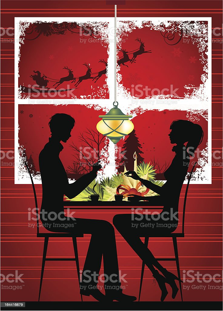 Christmas dinner. royalty-free stock vector art