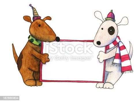 istock Christmas Dogs with Sign 182885804