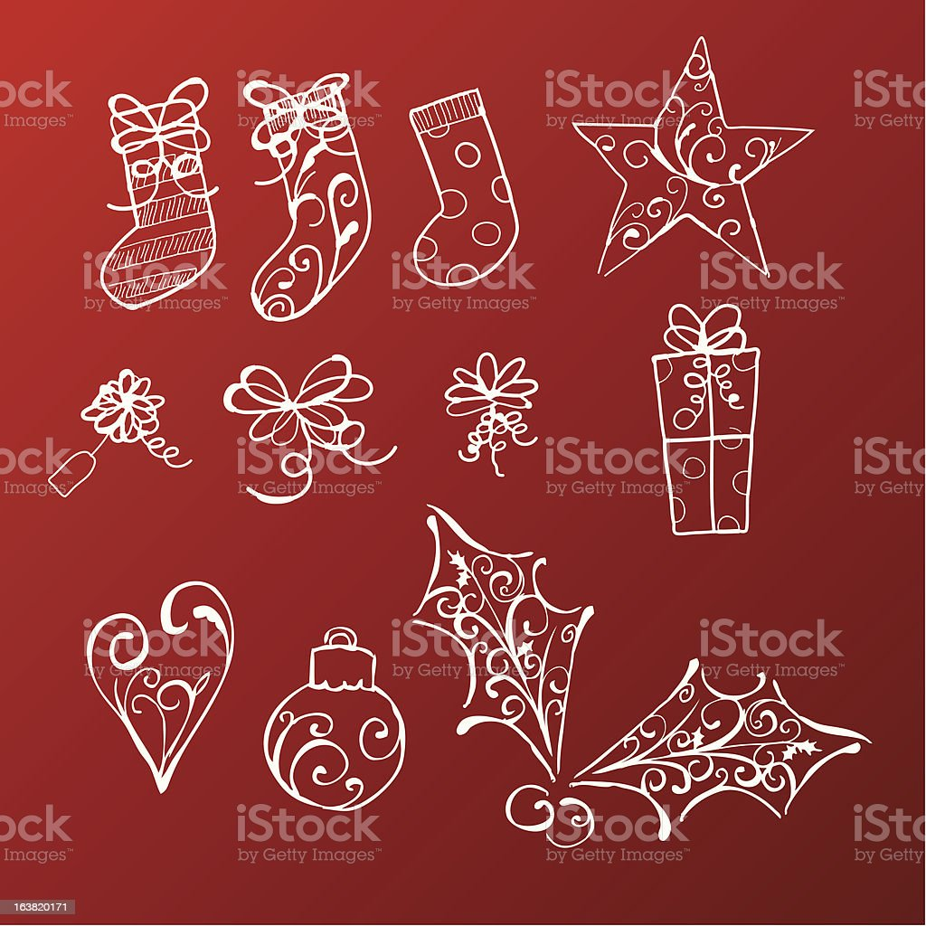 Christmas Doodles vector art illustration