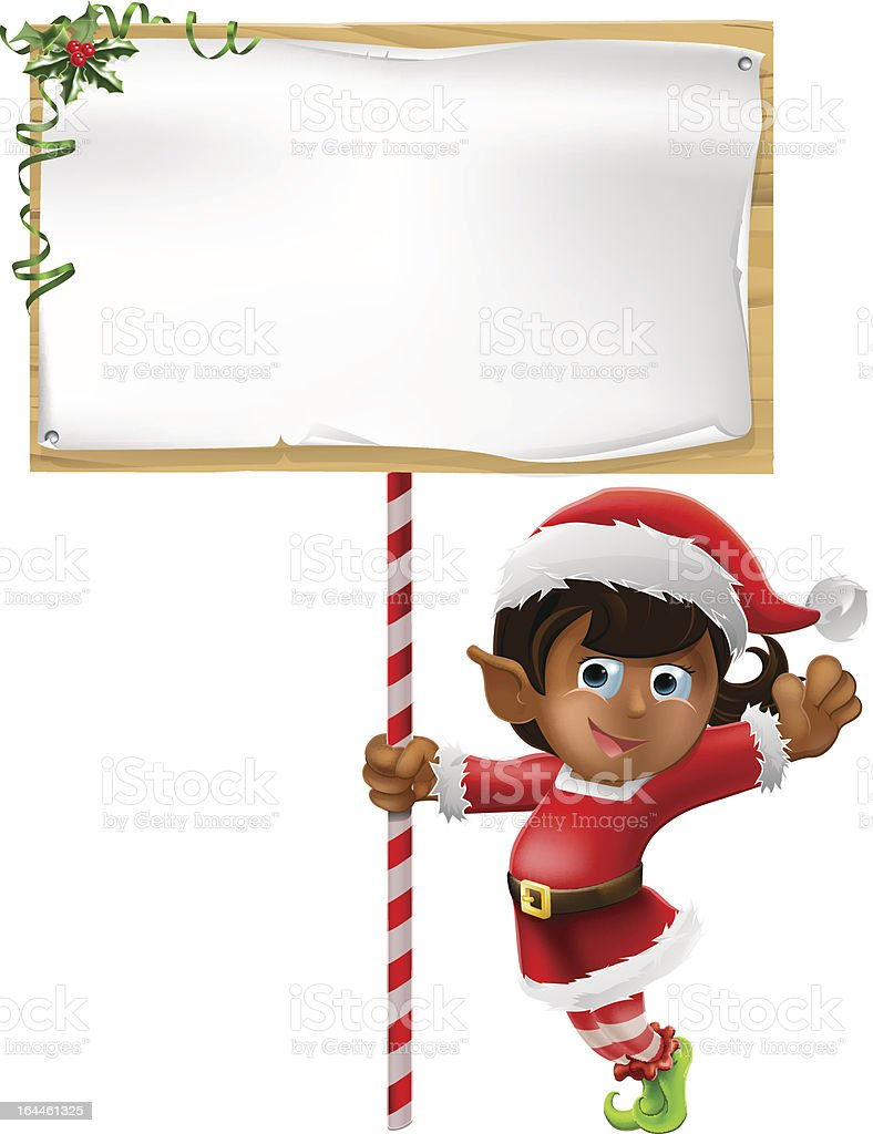 Christmas elf holding a sign royalty-free christmas elf holding a sign stock vector art & more images of adult