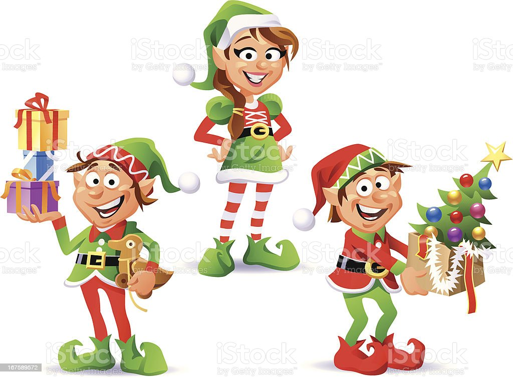 Christmas Elves royalty-free stock vector art