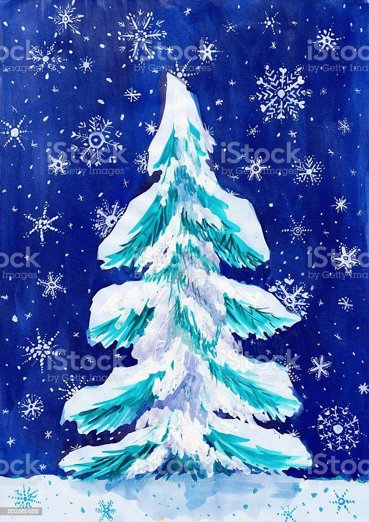 Abete Albero Di Natale Con Neve Su Scuro Pittura Ad Acquerello
