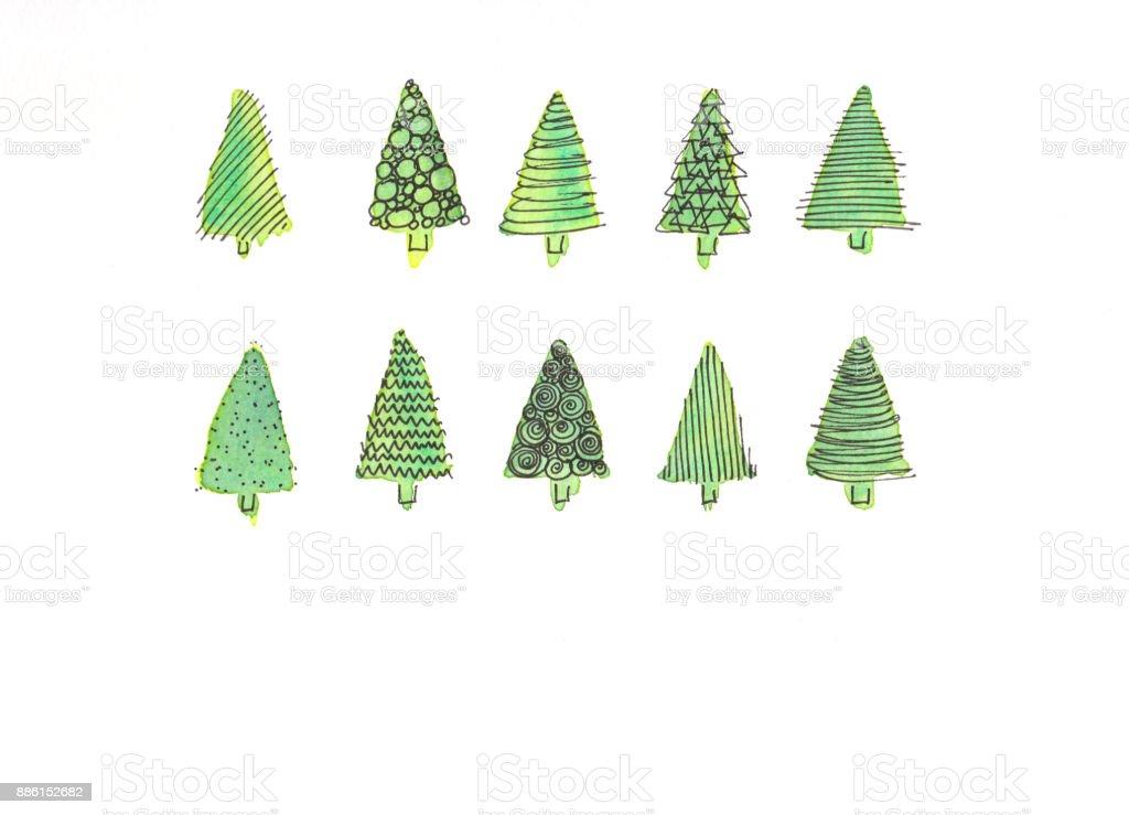 コピー スペース水彩画とクリスマスのモミの木 イラストレーションの