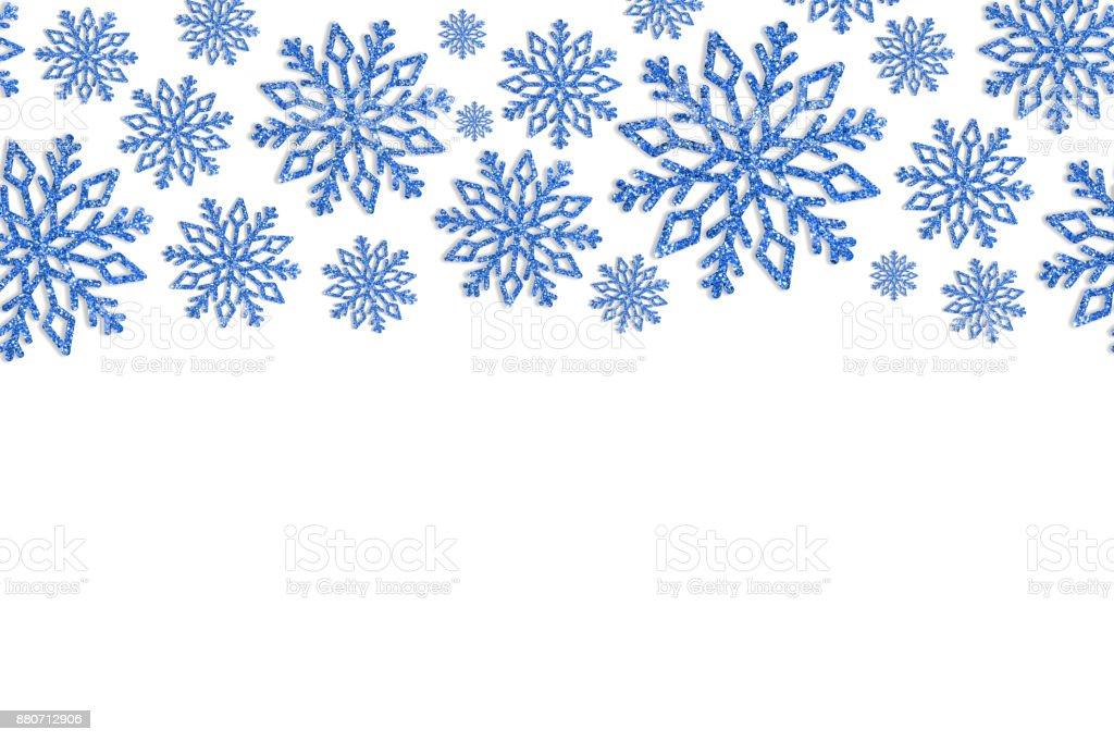 Marco De Navidad Con Copos De Nieve Azul Frontera De Confeti De ...