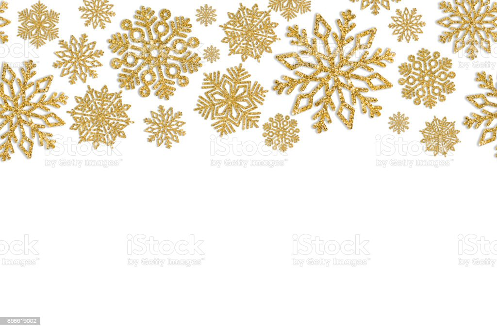christmas frame with gold snowflakes border of sequin. Black Bedroom Furniture Sets. Home Design Ideas